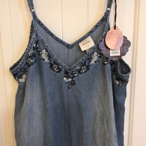 Knox Rose NWT Blue embroidery Sleeveless Dress Med
